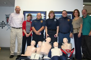 L to ROracle Fordowner Mark Phelpsand Office Manager Pat Schirrmacher, Office Manager; Pinal Rural Fire Rescue CPR Instructor Mike Miranda, EMS LieutenantDeanna Paine; Oracle Ford owner Patrice Ross and Sales Manager Kurt Christiansen.