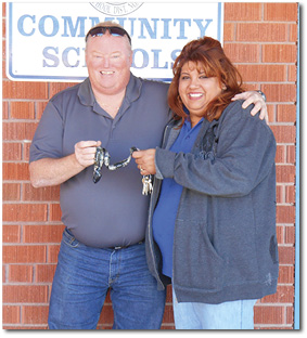 Larry Ramirez Hands Keys to Lisa Armenta3.JPG